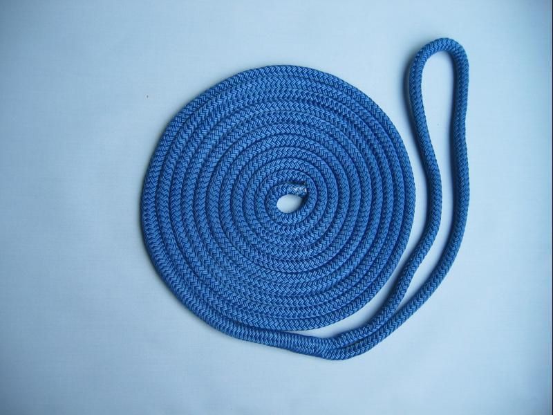"3/8"" X 10' NYLON DOUBLE BRAID DOCK LINE - BLUE - Click Image to Close"